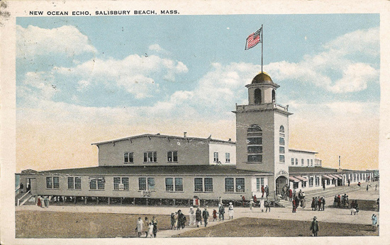 a postcard of an old Salisbury Beach Hotel