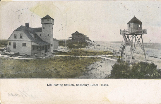 old postcard showing the now gone life saving station