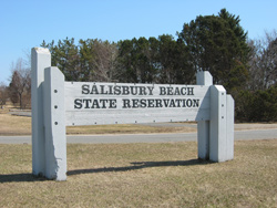 the entrance sign for Salisbury Beach State Reservation